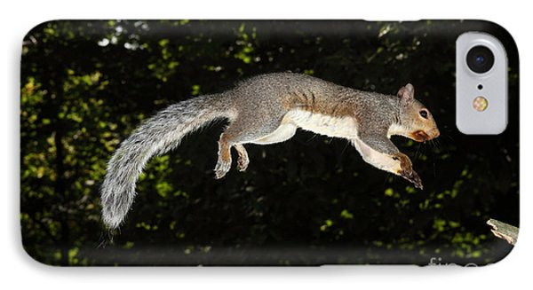 Jumping Gray Squirrel Phone Case by Ted Kinsman