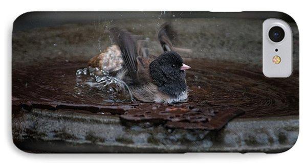 IPhone Case featuring the digital art Junco In The Birdbath by Carol Ailles
