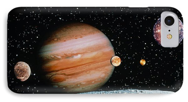 Jupiter And The Galilean Moons Seen From Leda IPhone Case