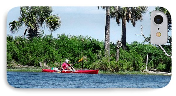 Kayaking Along The Gulf Coast Fl. Phone Case by Marilyn Holkham