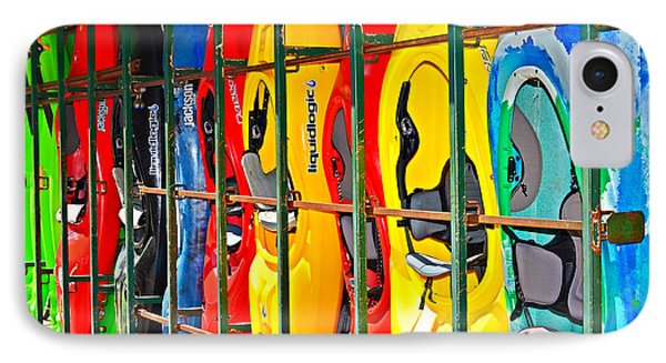 Kayaks In A Cage Phone Case by Susan Leggett