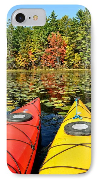 IPhone Case featuring the photograph Kayaks In The Fall by Rick Frost