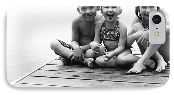 Kids Sitting On Dock Phone Case by Michelle Quance
