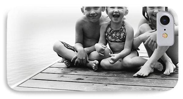 Kids Sitting On Dock IPhone Case