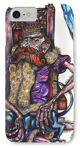 IPhone Case featuring the drawing King Crabclaw And His Blue Dachshund by Al Goldfarb