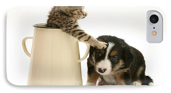 Kitten In Pot With Pup Phone Case by Jane Burton