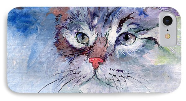 Kitty In Blue Phone Case by Sherry Shipley