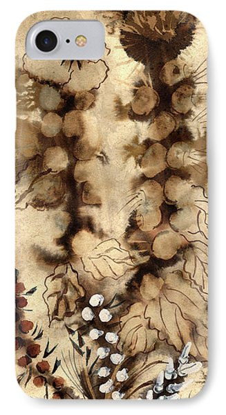 Kotsim Thorny Desert Plants In Brown Flowers Leaves Monochrome White   IPhone Case