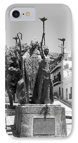 La Rogativa Sculpture Old San Juan Puerto Rico Black And White Phone Case by Shawn O'Brien