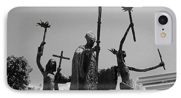 La Rogativa Statue Old San Juan Puerto Rico Black And White Phone Case by Shawn O'Brien