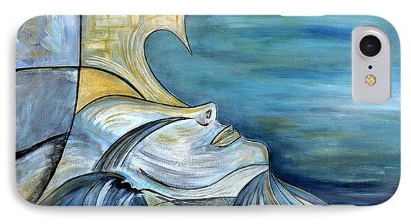 Beautiful Mysterious Blue Woman Portrait La Sirene French For Mermaid Mythic Siren Original Painting Phone Case by Marie Christine Belkadi