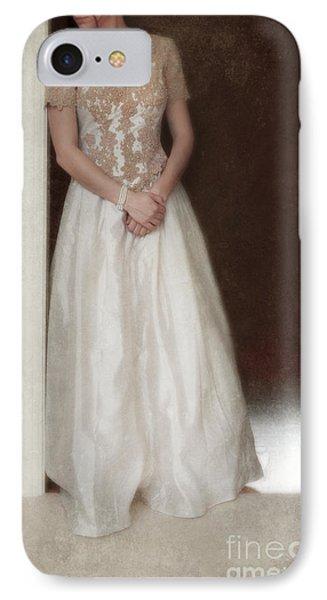 Lacy In Ecru Lace Gown Phone Case by Jill Battaglia