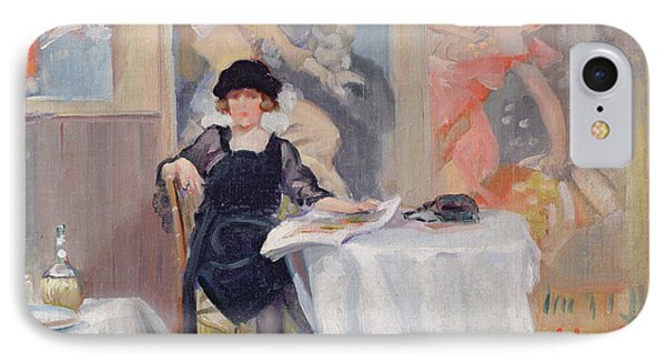 Lady At A Cafe Table  Phone Case by Harry J Pearson