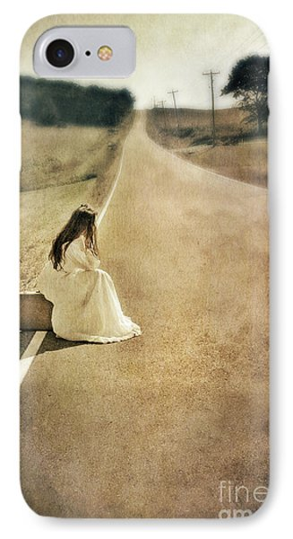 Lady In Gown Sitting By Road On Suitcase IPhone Case by Jill Battaglia