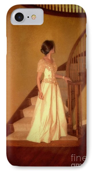 Lady In Lace Gown On Staircase Phone Case by Jill Battaglia