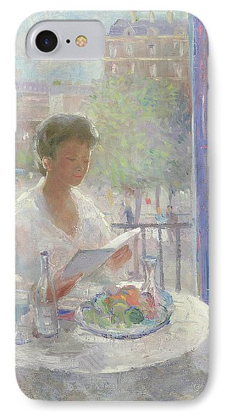 Lady Reading At An Open Window  IPhone Case by Clementine Helene Dufau