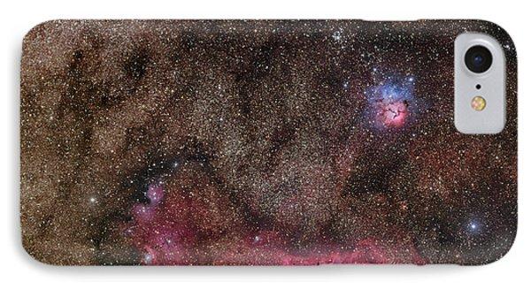 Lagoon Nebula And Trifid Nebula Phone Case by Phillip Jones