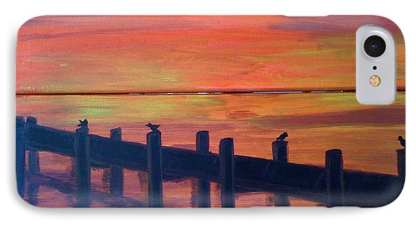 IPhone Case featuring the painting Lake Illawarra At Sunset by Judi Goodwin
