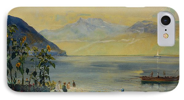 Lake Leman With The Dents Du Midi In The Distance IPhone Case by John William Inchbold