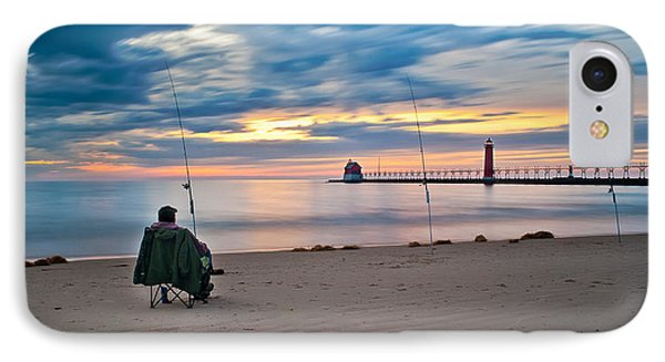 Lake Michigan Fishing IPhone Case by Larry Carr