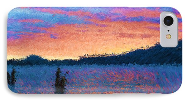 Lake Quinault Sunset - Impressionism Phone Case by Heidi Smith