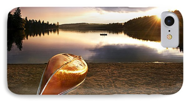 Lake Sunset With Canoe On Beach IPhone Case