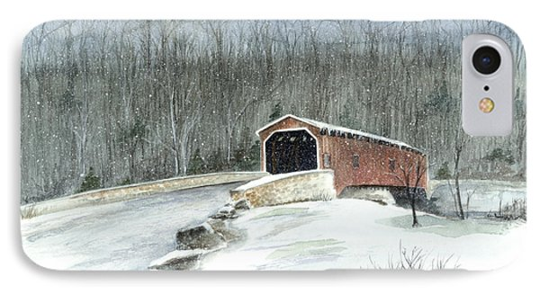 IPhone Case featuring the painting Lancaster County Covered Bridge In The Snow  by Nancy Patterson