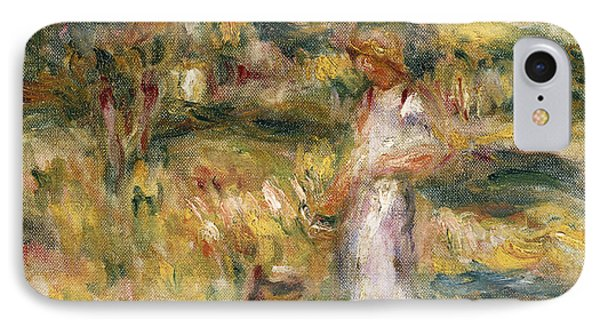 Landscape With A Woman In Blue IPhone Case by Pierre Auguste Renoir