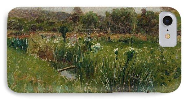 Landscape With Wild Irises Phone Case by Bruce Crane