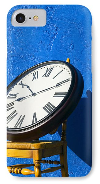 Large Clock On Yellow Chair Phone Case by Garry Gay