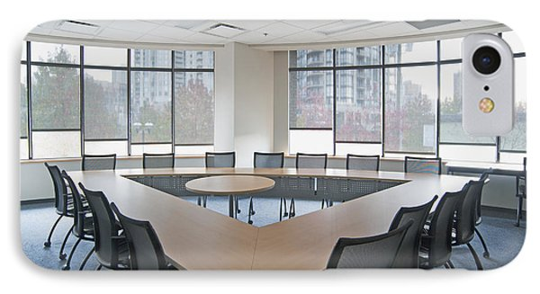 Large Empty Boardroom. A Long Narrow Phone Case by Marlene Ford