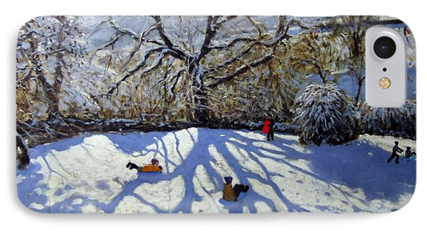 Large Tree And Tobogganers Phone Case by Andrew Macara