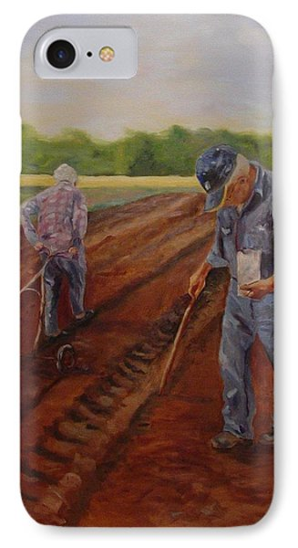 IPhone Case featuring the painting Laying Off Rows by Carol Berning