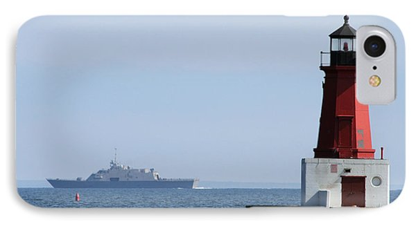 IPhone Case featuring the photograph Lcs3 Uss Fort Worth By The Menominee Lighthouse by Mark J Seefeldt