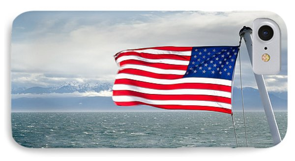 Leaving The Olympics Stars And Stripes On The Straits From The Olympic Mountains Phone Case by Andy Smy