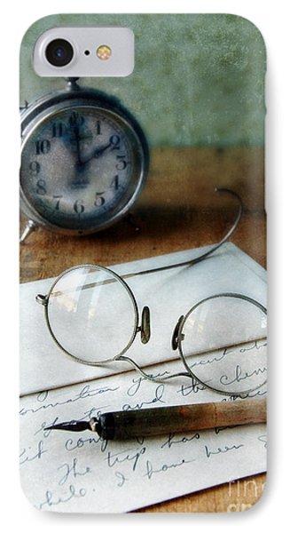 Letter Pen Glasses And Clock Phone Case by Jill Battaglia