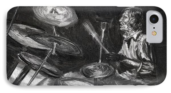 IPhone Case featuring the drawing Levon Helm In Charcoal by Denny Morreale