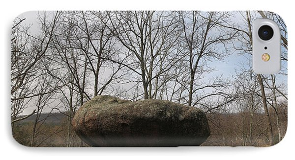 Lichen Covered Granite Boulder Balanced On Hill Phone Case by Adam Long