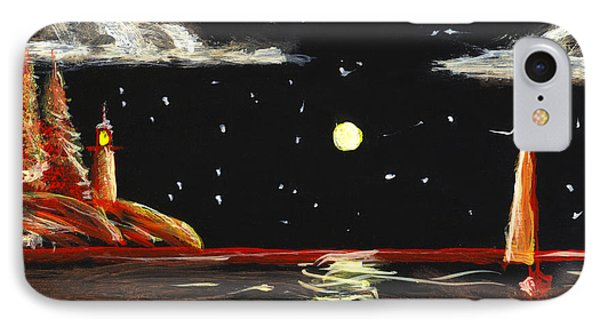 Lighthouse And Sailboat Painting Full Moon Art IPhone Case