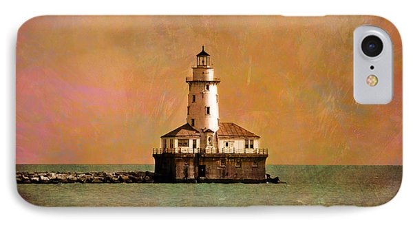 Lighthouse Off Navy Pier Phone Case by Mary Machare