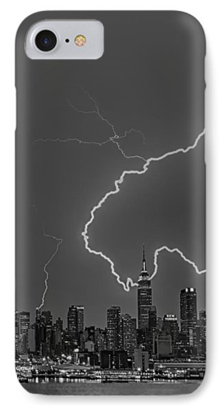 Lightning Bolts Over New York City Bw Phone Case by Susan Candelario