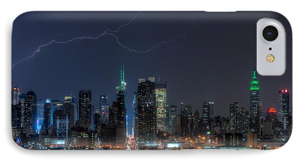 Lightning Over New York City Ix Phone Case by Clarence Holmes