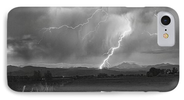 Lightning Striking Longs Peak Foothills 2bw Phone Case by James BO  Insogna