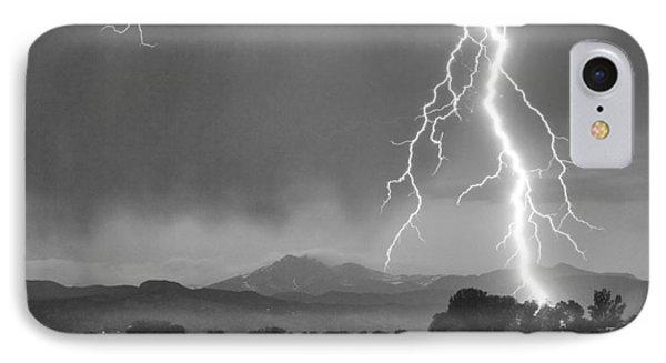 Lightning Striking Longs Peak Foothills 5bw Crop Phone Case by James BO  Insogna