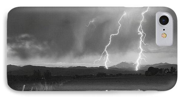 Lightning Striking Longs Peak Foothills Bw Phone Case by James BO  Insogna
