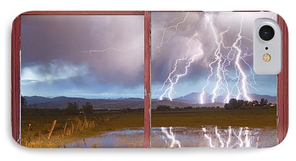 Lightning Striking Longs Peak Red Rustic Picture Window Frame Phone Case by James BO  Insogna
