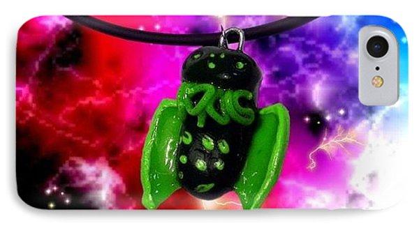 Lil Cthulhu Lovecraft Alien Cartoon Necklace Awake Phone Case by Pet Serrano