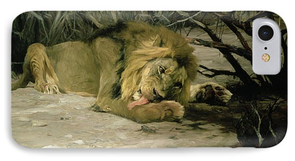 Lion Reclining In A Landscape Phone Case by Wilhelm Kuhnert