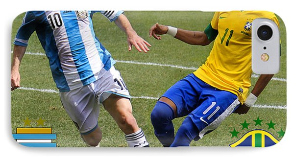 Lionel Messi And Neymar Clash Of The Titans Fifa World Cup 2014 And Team Logos IPhone Case by Lee Dos Santos