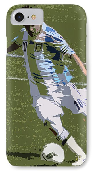 Lionel Messi Kicking II IPhone Case by Lee Dos Santos